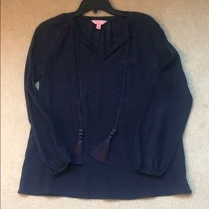 Lilly Pulitzer women navy blouse XS